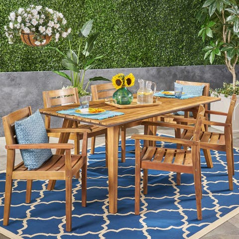 Graham Outdoor 7 Piece Acacia Wood Dining Set by Christopher Knight Home