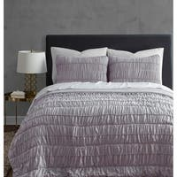 Ultra Soft Garment Wash Rouched 3-piece Quilt Set
