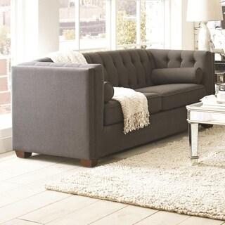 Transitional Linen Like Fabric & Wood Sofa With Lumbar Pillows, Gray