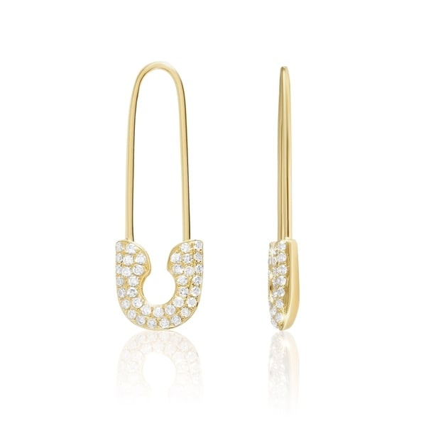 28ef783614a Shop 14KT Gold and Diamond Safety Pin Fashion Earring - Free ...