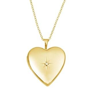 14KT Yellow Gold Diamond Photo Locket Heart Pendant