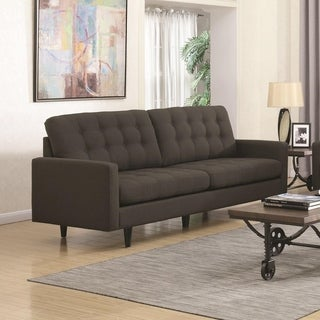 Transitional Linen Like Fabric & Wood Sofa With Cushioned Seat & Back, Gray