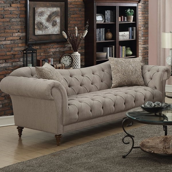 Contemporary Fabric & Wood Sofa With Tufted Design, Light Brown