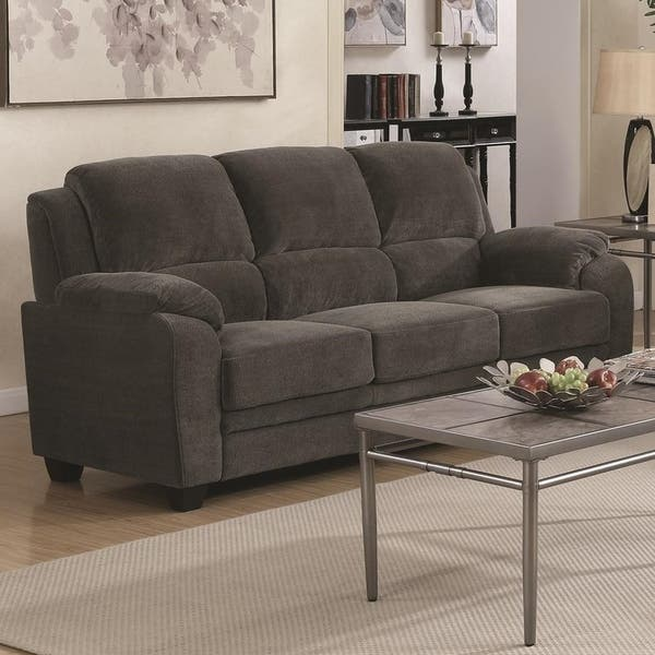 Chenille Sofa With Cushioned Armrests