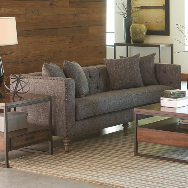 Contemporary Linen Like Fabric Wood Sofa With Tufted Seat Back Weathered Gray On Free Shipping Today 23553840