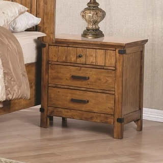 Wooden Nightstand with 3 Drawers, Warm Honey Brown