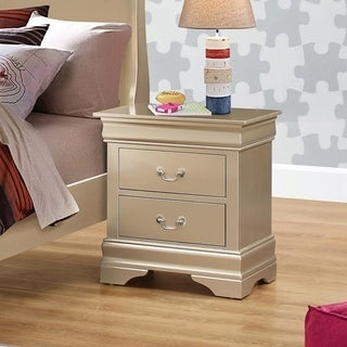 Wooden 2 Drawer Nightstand with Bail Handles, Champagne Gold