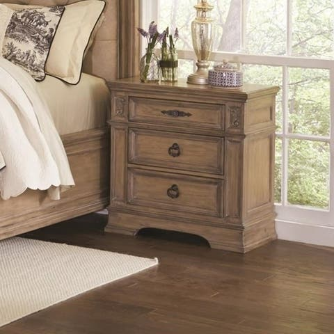 Wooden Three Drawer Nightstand with Carved Designs, Brown
