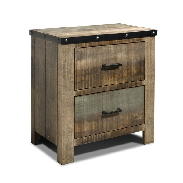 Wooden Nightstand with Rough-Sawn Design & Rivet Banding, Brown