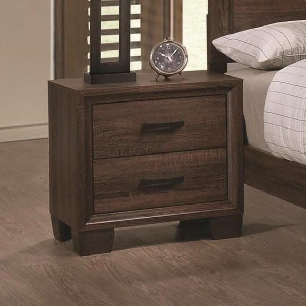 Wooden 2 Drawer Nightstand, Medium Warm Brown