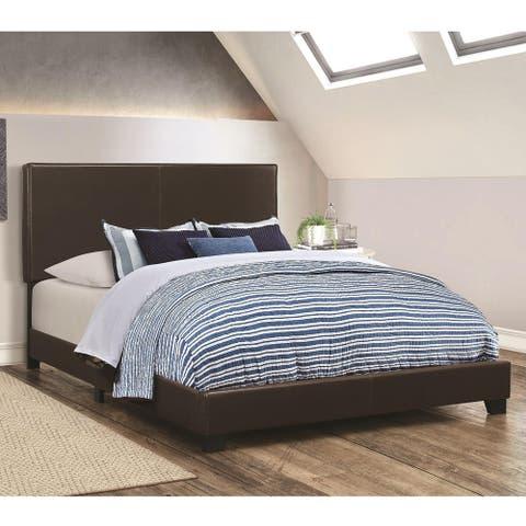 Brown Leather Upholstered King Size Platform Bed