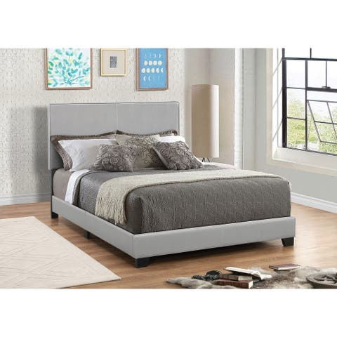 Leather Upholstered Queen Size Platform Bed, Gray