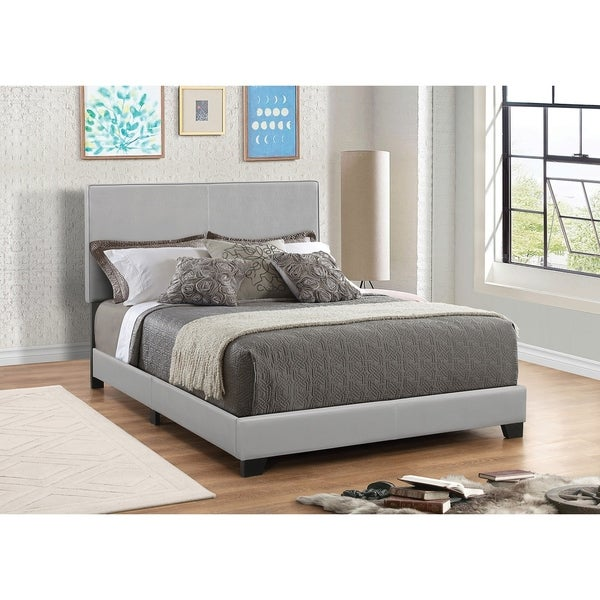 Shop Leather Upholstered Queen Size Platform Bed Gray