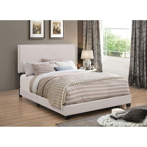 Fabric Upholstered Queen Size Platform Bed with Nail Head Trim, Ivory