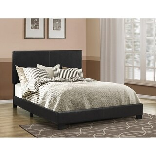 Leather Upholstered Queen Size Platform Bed, Black