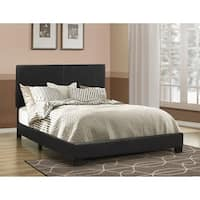 Leather Upholstered Queen Size Platform Bed, Black