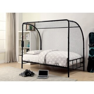 Metal Twin Size Soccer Goal Bed with Real Nylon Net, Black