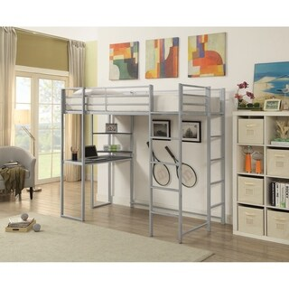Contemporary Steel/Wood Twin Workstation Loft Bed With 2 Ladders, Silver