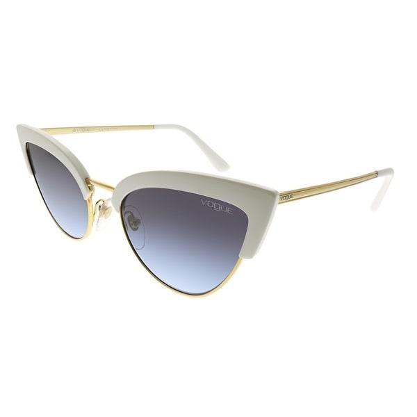 a54244de54 Vogue Eyewear Cat-Eye VO 5212S W7454Q Women White Gold Frame Grey Gradient  Lens Sunglasses