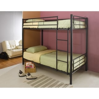 Metal Twin over Twin Bunk Bed with Ladder, Black
