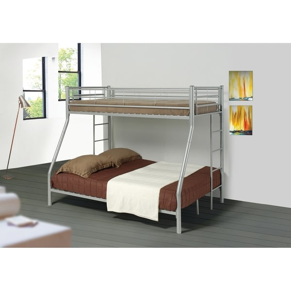 Shop Metal Twin Over Full Bunk Bed With Full Length Guard Rails