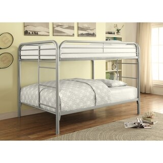 Metal Full over Full Bunk Bed With Straight Rounded Legs, Silver