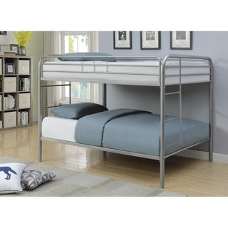 Full over Full Metal Bunk Bed with Open Frame Design, Silver