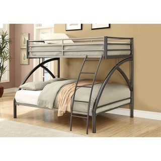Contemporary Style Metal Twin over Full Bunk Bed , Gunmetal Gray