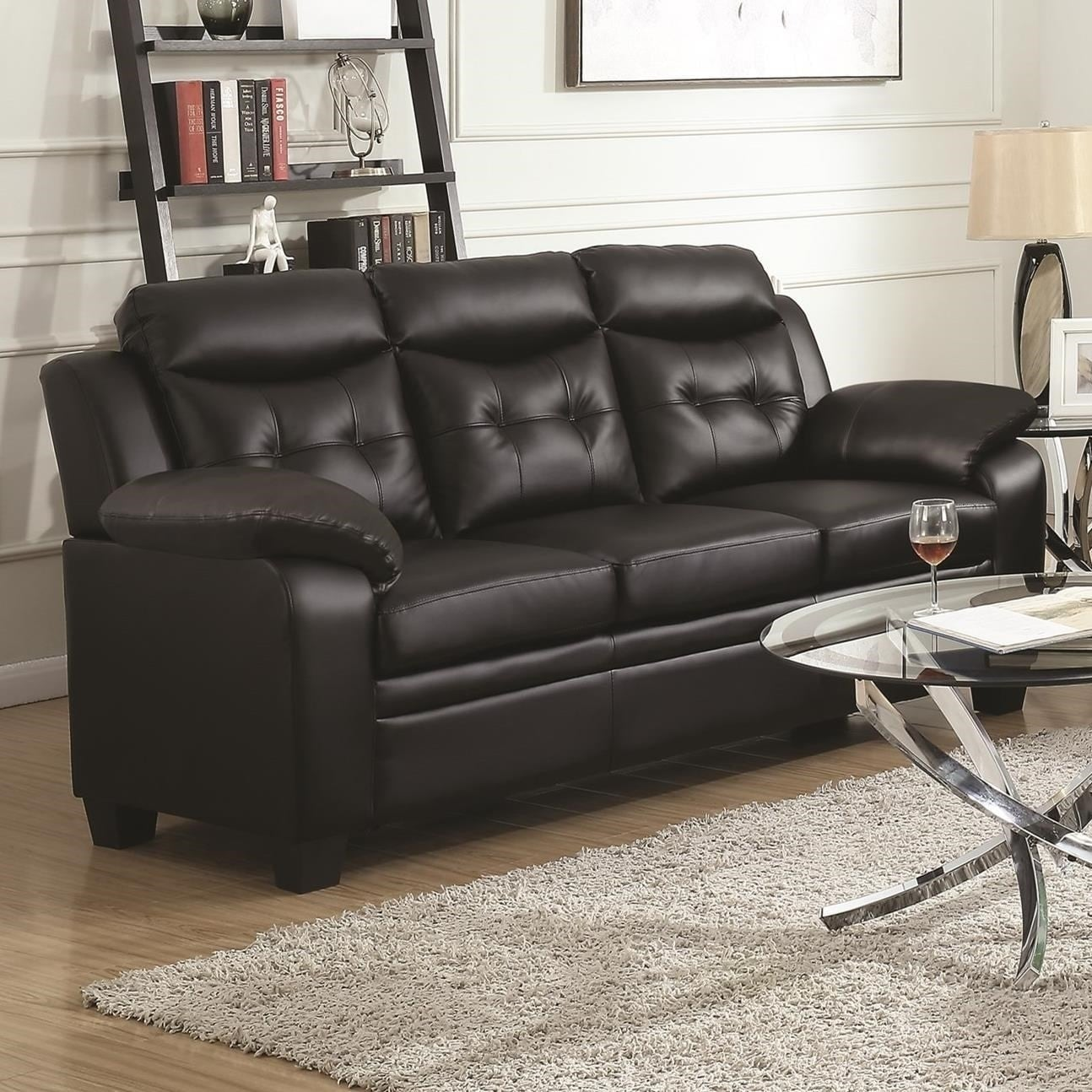 Contemporary Faux Leather & Wood Sofa With Padded Armrests, Rich Black