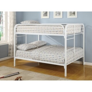 Metal Full over Full Bunk Bed With Straight Rounded Legs, White