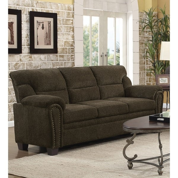 Shop Transitional Chenille Fabric & Wood Sofa With Padded