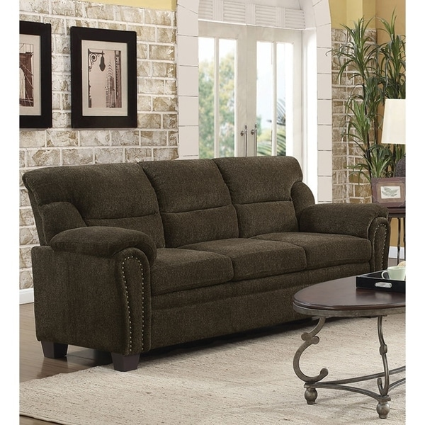 Fabric For Furniture: Shop Transitional Chenille Fabric & Wood Sofa With Padded