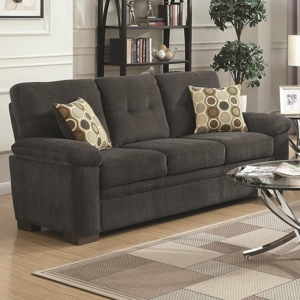 Transitional Micro Velvet Fabric Wood Sofa With Padded Armrests Dark Gray
