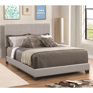 Leather Upholstered California King Size Platform Bed, Gray