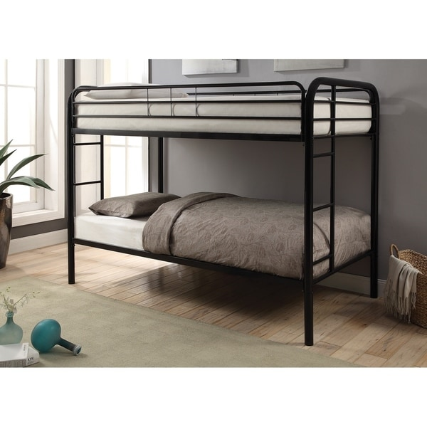 Metal Twin over Twin Bunk Bed In Contemporary Style, Black