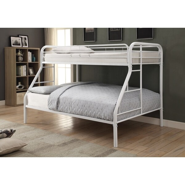 Twin Over Full Bunk Bed In With Metal Frame White
