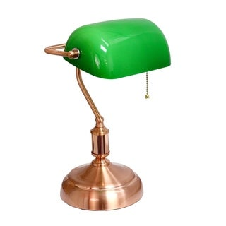 Elegant Designs Executive Banker's Desk Lamp with Green Glass Shade - Rose Gold