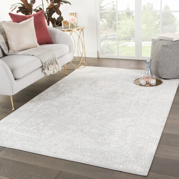 Shop Gramercy Medallion White Light Gray Area Rug 7 6