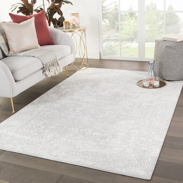 Gramercy Medallion White Light Gray Area Rug 7 6 X
