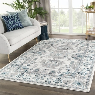 "Freyr Medallion White/ Light Gray Area Rug - 7'10"" x 10'2"""
