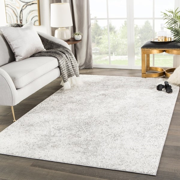 Shop Monroy Damask White Light Gray Area Rug 7 6 X 9 6 On