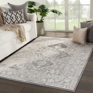 "Shreve Medallion White/ Gray Area Rug - 3'3"" x 5'3"""