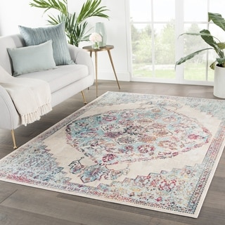 The Curated Nomad Rocky Medallion Cream/ Turquoise Area Rug - 4' x 5'8 - 4' x 5'8""