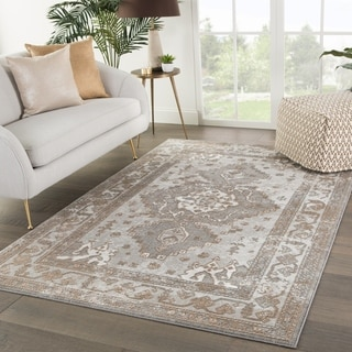 "Shreve Medallion Gray/ Tan Area Rug - 3'3"" x 5'3"""