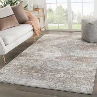 "Deville Geometric Gray/ Tan Area Rug - 7'6"" x 9'6"""