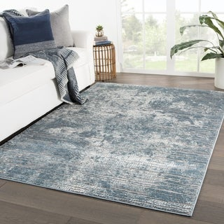 "Galaway Abstract Blue/ Gray Area Rug - 4'3"" x 6'1"""