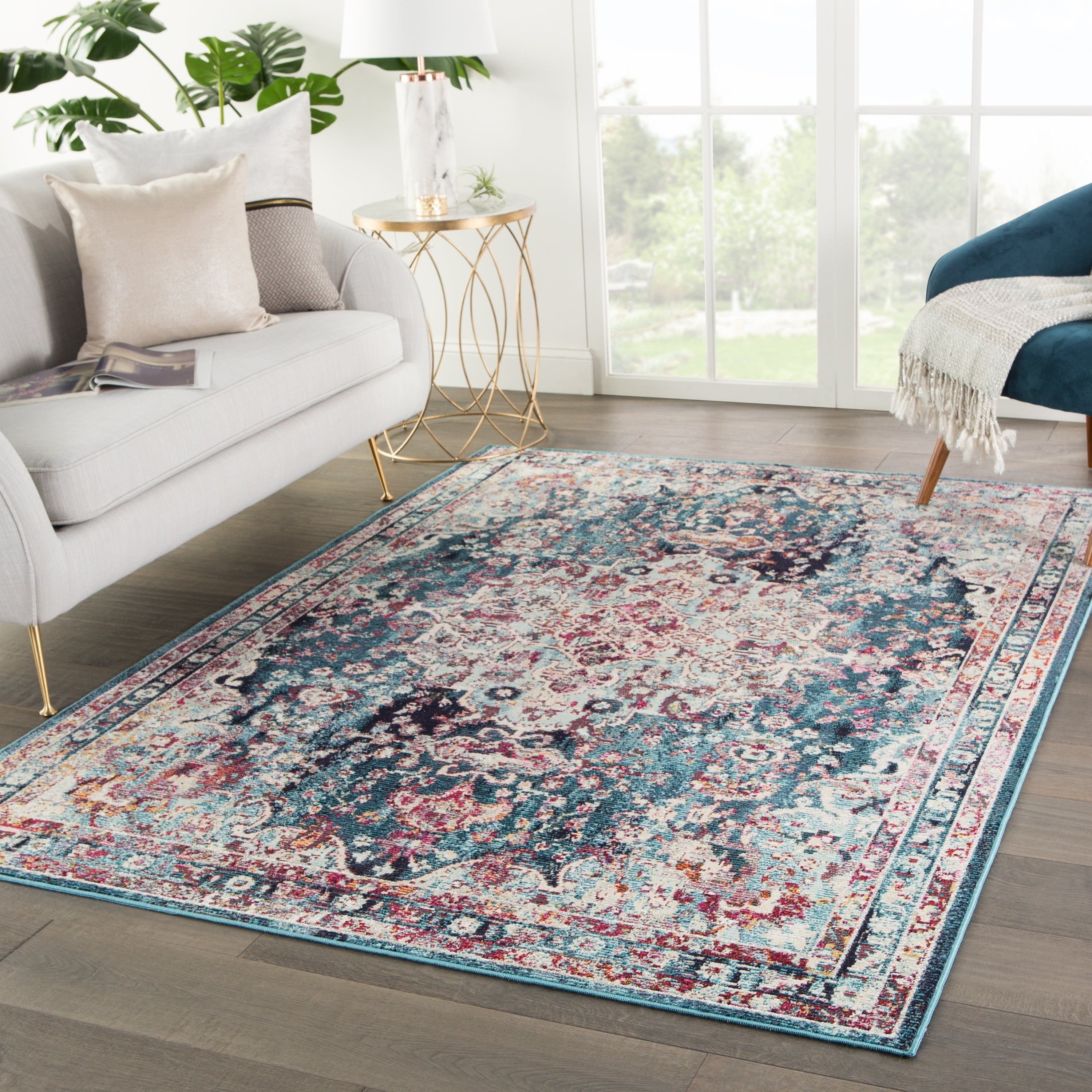 Shop The Curated Nomad Willard Medallion Teal Area Rug 4 X 58