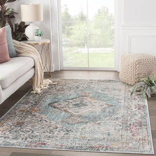 The Curated Nomad Eugenia Medallion Teal/Gold Area Rug - 4' x 5'8""