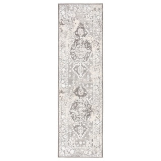 "Shreve Medallion White/ Gray Runner Rug - 2'6"" x 8' Runner"
