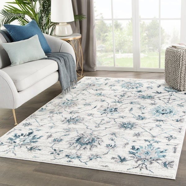 "Alizeh Medallion White/ Teal Area Rug - 7'10"" x 10'2"""